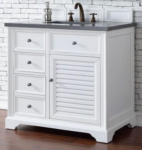 "Savannah 36"" Cottage White Single Vanity With 3Cm Shadow Gray Quartz Top"