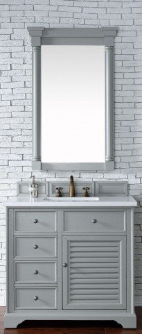 "Savannah 36"" Urban Gray Single Vanity With 3Cm Snow White Quartz Top"