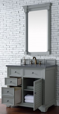 "Savannah 36"" Urban Gray Single Vanity With 3Cm Shadow Gray Quartz Top"
