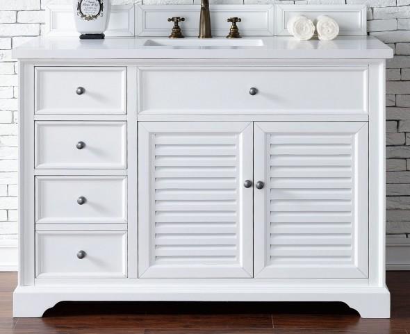 "Savannah 48"" Cottage White Single Vanity With 3Cm Snow White Quartz Top"
