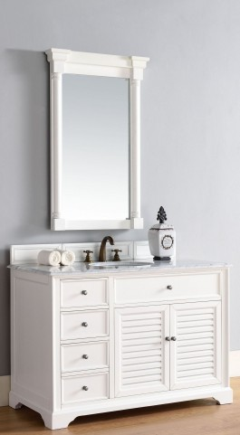 "Savannah 48"" Cottage White Single 2CM Top Vanity Set"