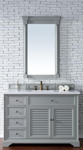 "Savannah 48"" Urban Gray Single Vanity With 3Cm Snow White Quartz Top"