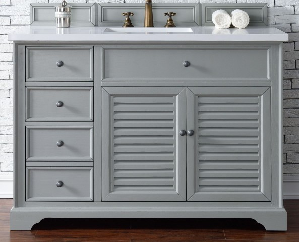 "Savannah 48"" Urban Gray Single Vanity With 3Cm Snow White Quartz Top"