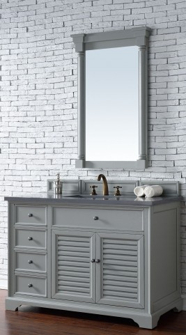"Savannah 48"" Urban Gray Single Vanity With 3Cm Shadow Gray Quartz Top"