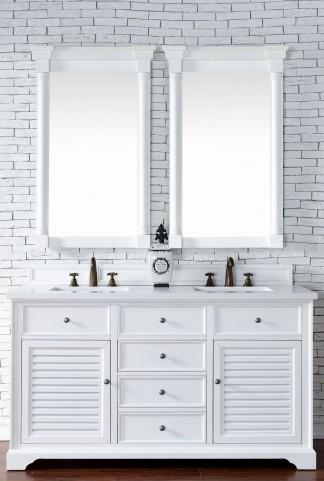 "Savannah 60"" Cottage White Double 3CM Top Vanity Set"