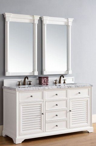 "Savannah 60"" Cottage White Double 4CM Top Vanity Set"