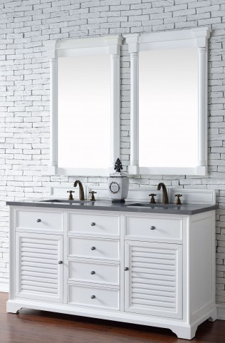 "Savannah 60"" Cottage White Double Vanity With 3Cm Shadow Gray Quartz Top"