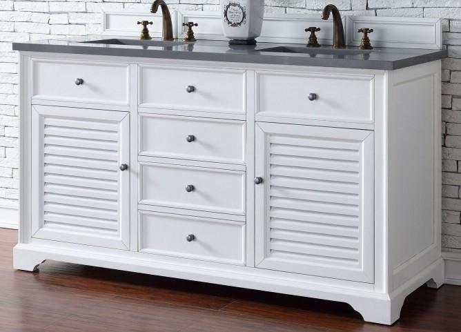 "Savannah 60"" Cottage White Double Vanity With 3Cm Shadow Gray Quartz Top"
