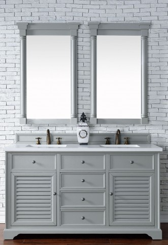"Savannah 60"" Urban Gray Double Vanity With 3Cm Snow White Quartz Top"