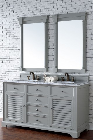 "Savannah 60"" Urban Gray Double 2CM Top Vanity Set"
