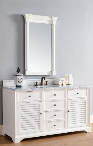 "Savannah 60"" Cottage White Double 2CM Top Vanity Set"