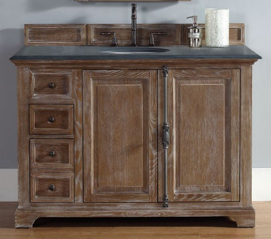 "Providence 48"" Driftwood Single Vanity With 2Cm Black Granite Top"