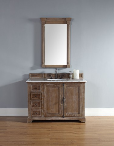 "Providence 48"" Driftwood Single Vanity With 2Cm Carerra White Marble Top"