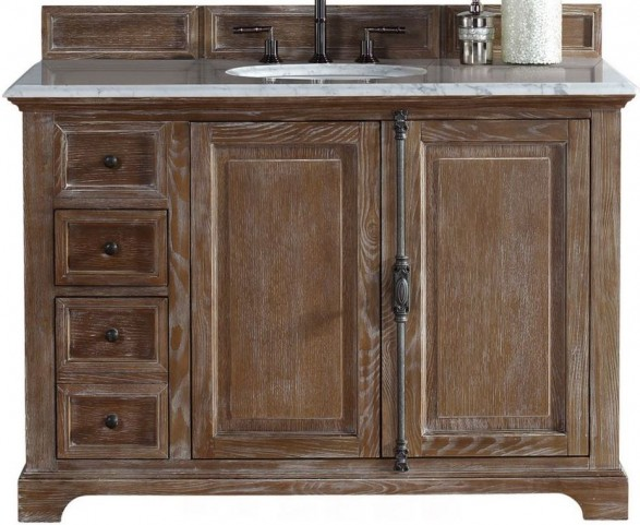 """Providence 48"""" Driftwood Single Vanity With 2Cm Carerra White Marble Top"""