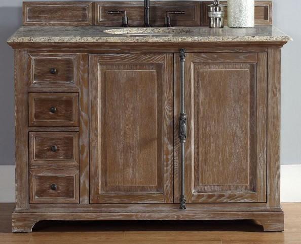 "Providence 48"" Driftwood Single Vanity With 2Cm Santa Cecilia Granite Top"