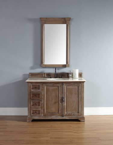 "Providence 48"" Driftwood Single Vanity With 2Cm Galala Beige Marble Top"