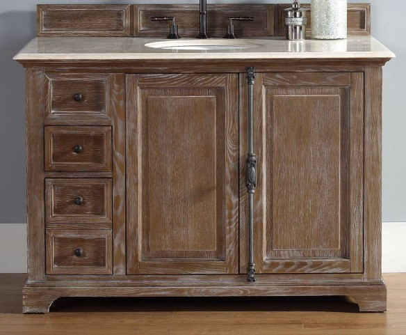 """Providence 48"""" Driftwood Single Vanity With 2Cm Galala Beige Marble Top"""