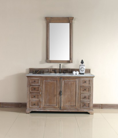 """Providence 60"""" Driftwood Single Vanity With 2Cm Carerra White Marble Top"""