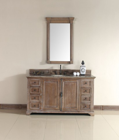 "Providence 60"" Driftwood Single Vanity With 2Cm Santa Cecilia Granite Top"