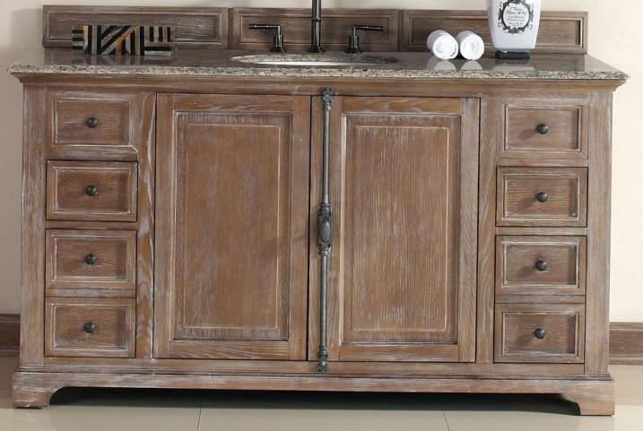 "Providence 60"" Driftwood Single Vanity With 2Cm Santa Cecilia Granite Top"