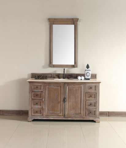 "Providence 60"" Driftwood Single Vanity With 2Cm Galala Beige Marble Top"