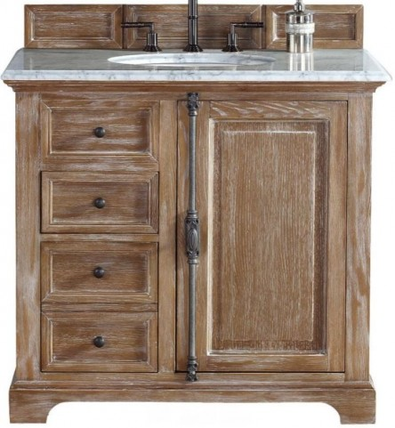 "Providence 36"" Driftwood Single Vanity With 2Cm Carerra White Marble Top"