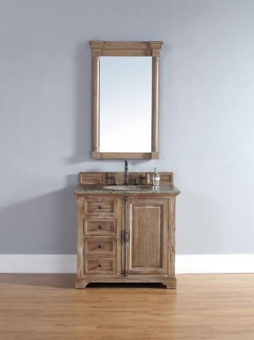 "Providence 36"" Driftwood Single Vanity With 2Cm Santa Cecilia Granite Top"