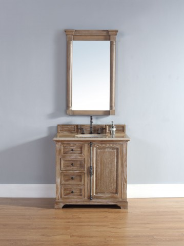 "Providence 36"" Driftwood Single Vanity With 2Cm Galala Beige Marble Top"