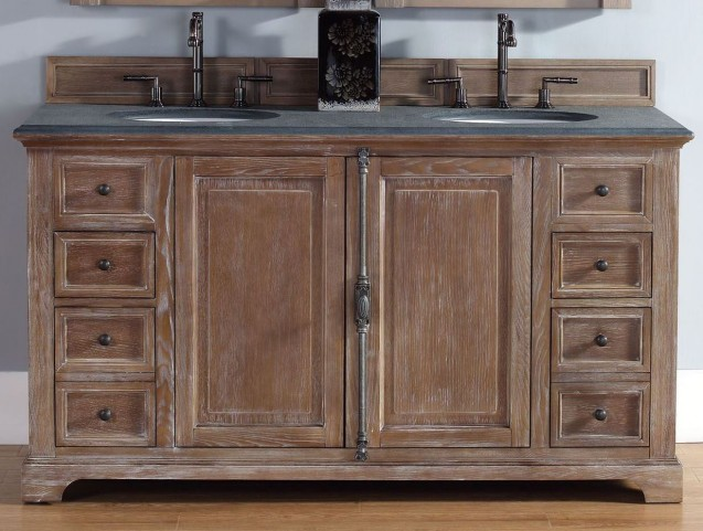 "Providence 60"" Driftwood Double Vanity With 2Cm Black Granite Top"