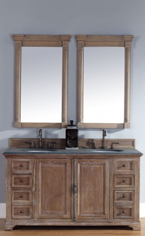 "Providence 60"" Driftwood Double 2CM Top Vanity Set"