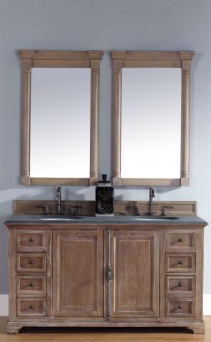 "Providence 60"" Driftwood Double 2CM Top Vanity Set"