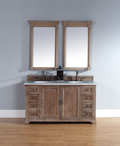 "Providence 60"" Driftwood Double Vanity With 2Cm Carerra White Marble Top"