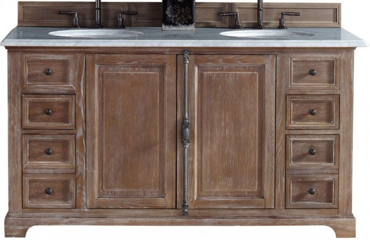 """Providence 60"""" Driftwood Double Vanity With 2Cm Carerra White Marble Top"""