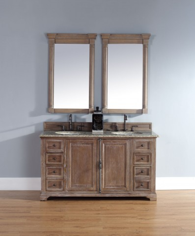 "Providence 60"" Driftwood Double Vanity With 2Cm Santa Cecilia Granite Top"