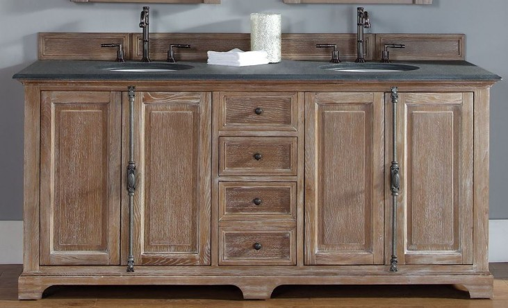 """Providence 72"""" Driftwood Double Vanity With 2Cm Black Granite Top"""