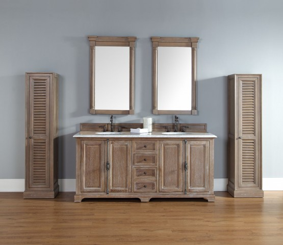 "Providence 72"" Driftwood Double Vanity With 2Cm Carerra White Marble Top"