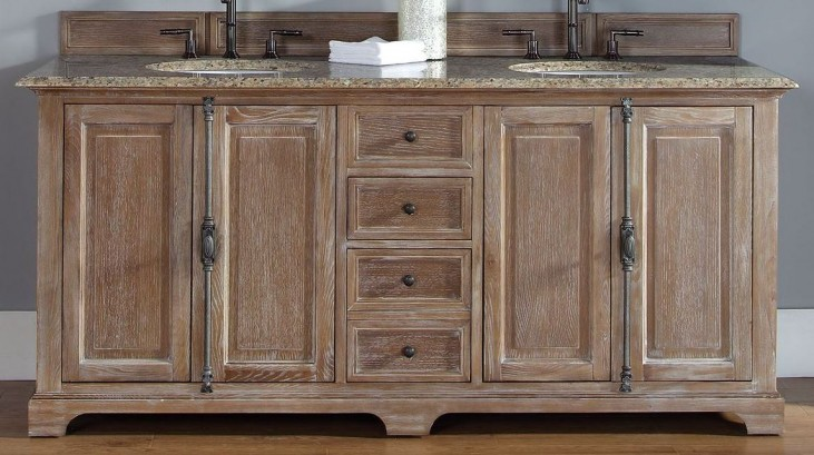 "Providence 72"" Driftwood Double Vanity With 2Cm Santa Cecilia Granite Top"