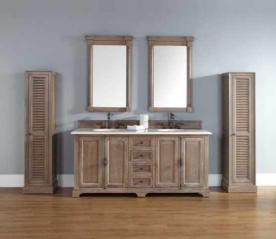 "Providence 72"" Driftwood Double Vanity With 2Cm Galala Beige Marble Top"