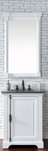 "Providence 26"" Cottage White Single Vanity With 3Cm Shadow Gray Quartz Top"