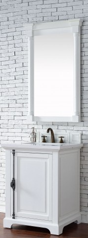 "Providence 26"" Cottage White Single Vanity With 3Cm Snow White Quartz Top"