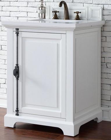 "Providence 26"" Cottage White Single Vanity With 3Cm Snow White Quartz Top"