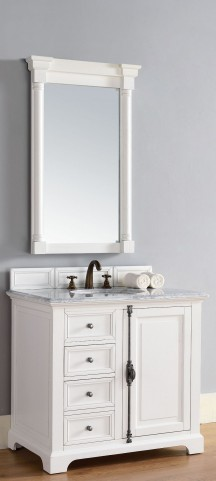 "Providence 36"" Cottage White Single 2CM Top Vanity Set"