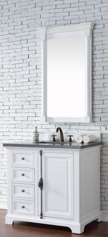 "Providence 36"" Cottage White Single 3CM Top Vanity Set"