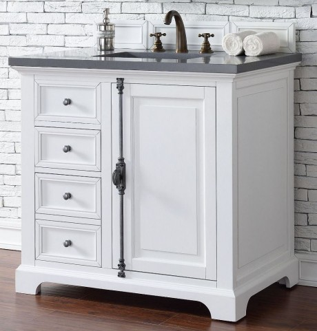 "Providence 36"" Cottage White Single Vanity With 3Cm Shadow Gray Quartz Top"