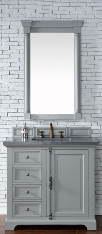 "Providence 36"" Urban Gray Single Vanity With 3Cm Shadow Gray Quartz Top"