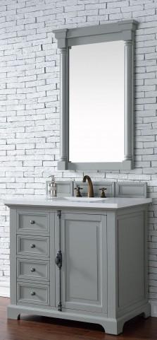 "Providence 36"" Urban Gray Single Vanity With 3Cm Snow White Quartz Top"