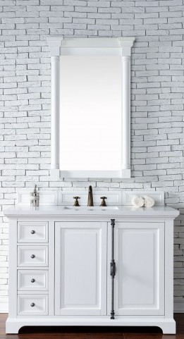 "Providence 48"" Cottage White Single Vanity With 3Cm Snow White Quartz Top"