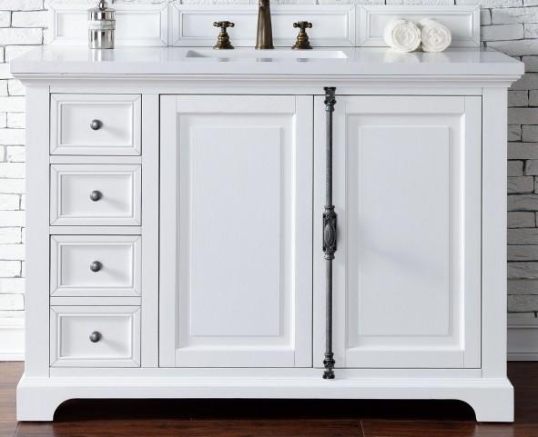 "Providence 48"" Cottage White Single Vanity With 3Cm Snow White Quartz Top"