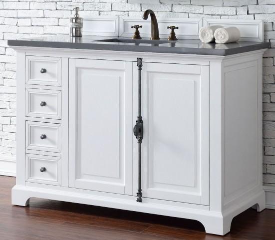 "Providence 48"" Cottage White Single Vanity With 3Cm Shadow Gray Quartz Top"