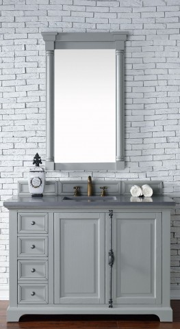 "Providence 48"" Urban Gray Single Vanity With 3Cm Shadow Gray Quartz Top"